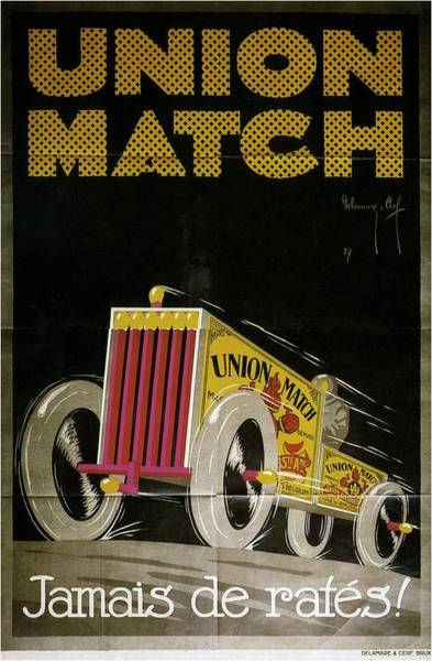 Vintage Automobiles Mixed Media - Union Match - Match Box Car - Vintage Advertising Poster by Studio Grafiikka