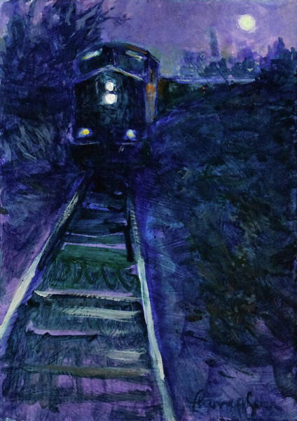 Diesel Trains Painting - Union Pacific At Night by Tracie Thompson