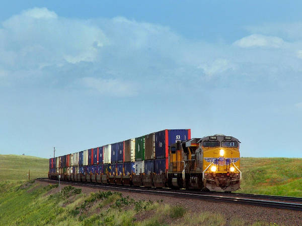 Union Pacific Railroad Wall Art - Photograph - Union Pacific Container Train Bound For The Pacific Coast by Ken Smith