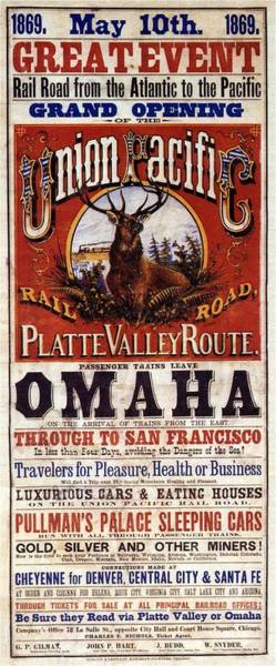 Rail Painting - Union Pacific Rail Road - Platte Valley Route Inauguration - Vintage Advertising Poster by Studio Grafiikka