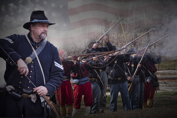 Photograph - Union Soldier Reenactors by Randall Nyhof