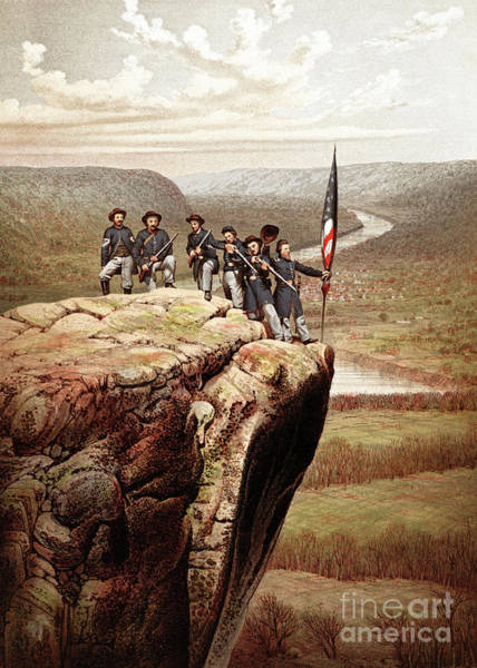 Campaign Painting - Union Soldiers On Lookout Mountain, Tennessee by James Fuller Queen