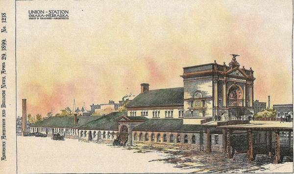 Railroad Station Painting - Union Station Omaha Nebraska 1899 by Frost and Granger