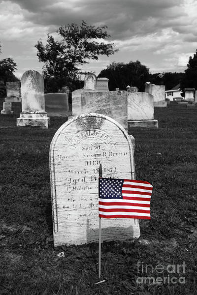 Photograph - Uniontown Cemetery Maryland Selective Color by James Brunker