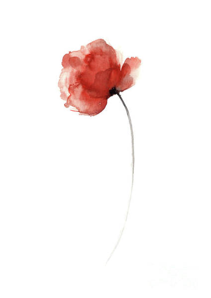 Wall Art - Painting - Unique Poppy Wall Decor,  Mothers Day Abstract Flower Giclee Fine Art Print by Joanna Szmerdt