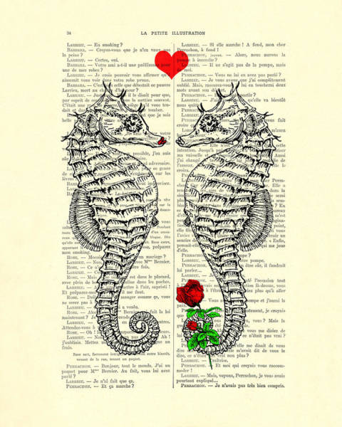 Wall Art - Digital Art - Unique Valentines Day Gift Ideas, Seahorses by Madame Memento
