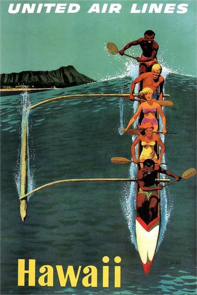 United Airlines Wall Art - Mixed Media - United Air Lines To Hawaii - Riding With Outrigger - Retro Travel Poster - Vintage Poster by Studio Grafiikka