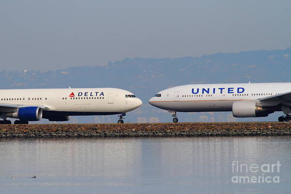 Photograph - United Airlines And Delta Airlines Jet Airplane At San Francisco International Airport Sfo . 7d12091 by Wingsdomain Art and Photography