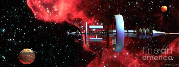 Digital Art - United Earth Space Federation Star Ship Hawkins 2 by Walter Neal