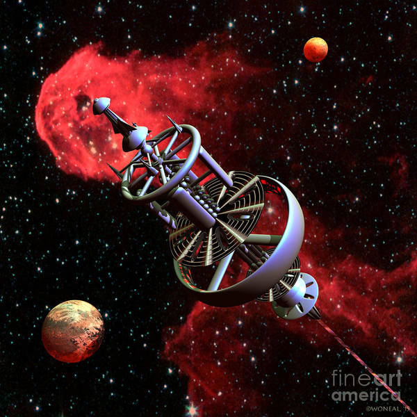 Digital Art - United Earth Space Federation Star Ship Stephen Hawkins by Walter Neal