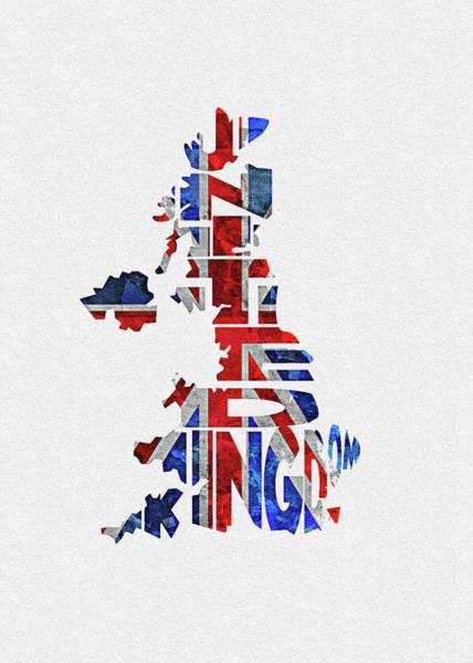 Wall Art - Digital Art - United Kingdom Typographic Kingdom by Inspirowl Design