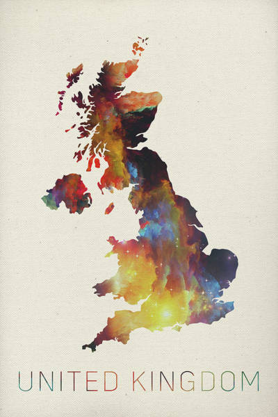Northern Scotland Wall Art - Mixed Media - United Kingdom Watercolor Map by Design Turnpike
