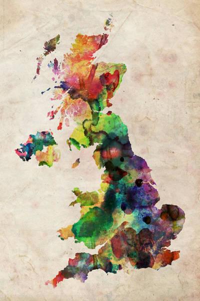 Kingdom Wall Art - Digital Art - United Kingdom Watercolor Map by Michael Tompsett