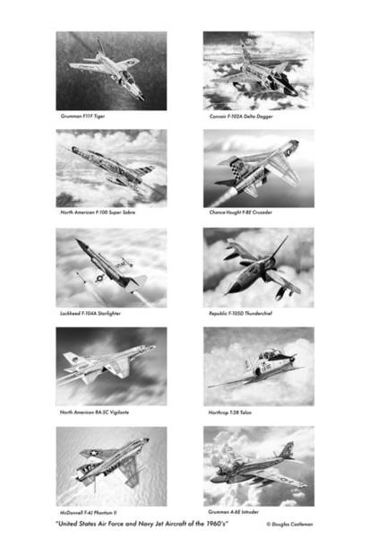 Drawing - United States Air Force And Navy Jets Of The 1960s by Douglas Castleman