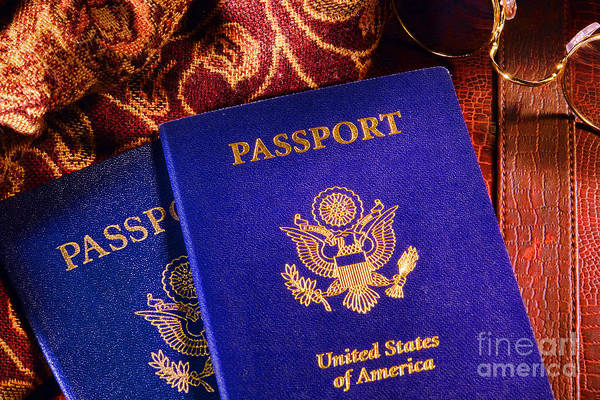 Photograph - United States American Passports On Travel Accessories  by Olivier Le Queinec