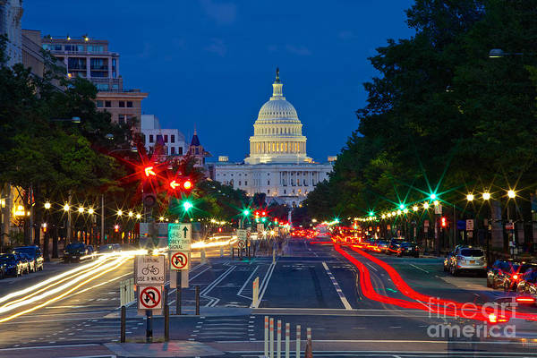 United States Capitol Along Pennsylvania Avenue In Washington, D.c.   Art Print