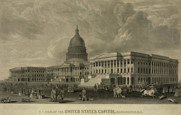 Wall Art - Painting - United States Capitol, Washington by 19th Century