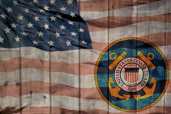 Wall Art - Mixed Media - United States Coast Guard Logo Barn Door by Dan Sproul