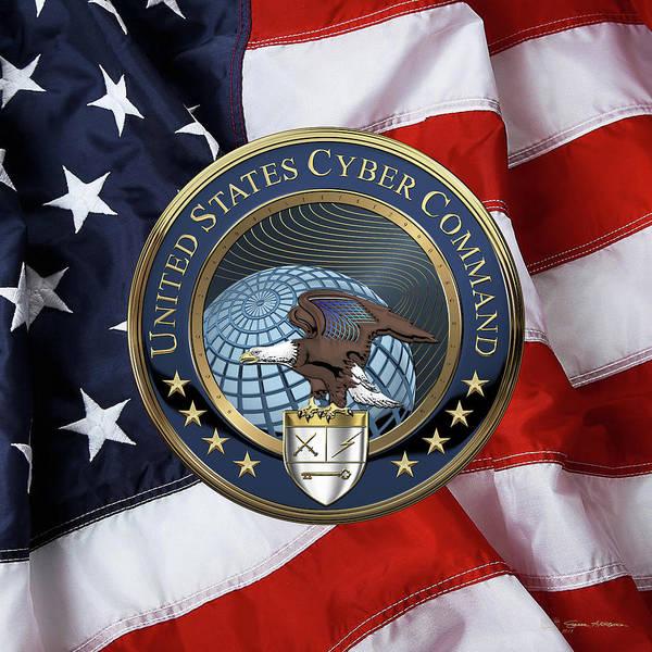 Digital Art - United States Cyber Command - C Y B E R C O M Emblem Over American Flag by Serge Averbukh