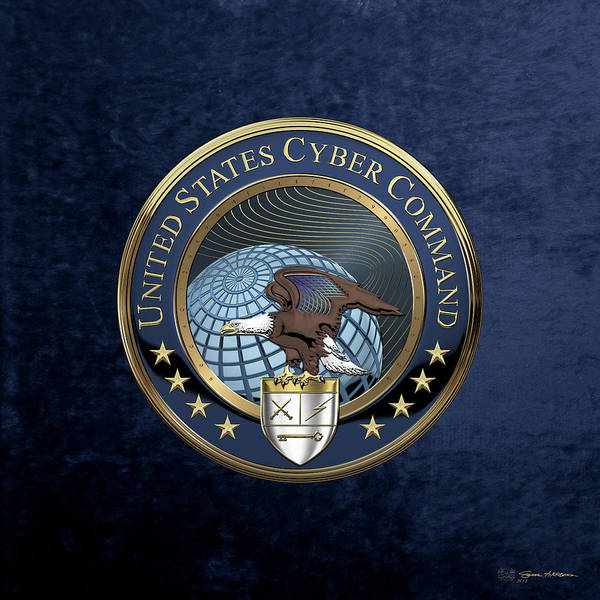 Digital Art - United States Cyber Command - C Y B E R C O M Emblem Over Blue Velvet by Serge Averbukh