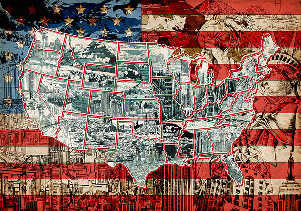 Statue Painting - United States Drawing Collage Map 6 by Bekim Art