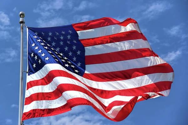 Wall Art - Photograph -  United States Flag Waving by Daniel Hagerman