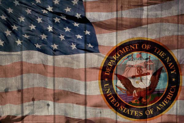 Wall Art - Mixed Media - United States Navy Logo Barn Door by Dan Sproul