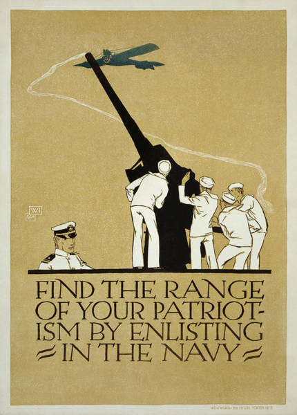 Recruitment Painting - United States Navy Recruitment Poster From 1918 by Celestial Images