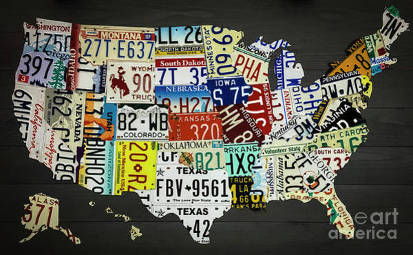 Photograph - License Plate Map Of United States by Dale Powell