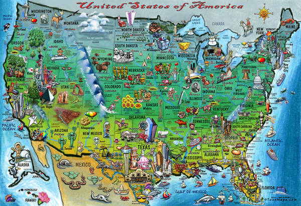 Digital Art - United States Of America Fun Map by Kevin Middleton
