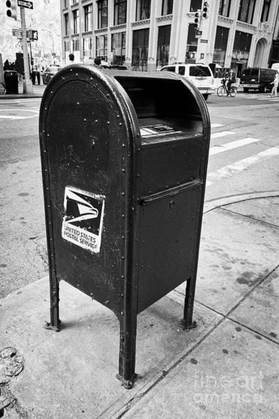 United States Postal Service Photograph - united states postal service blue dropbox post box New York City USA by Joe Fox