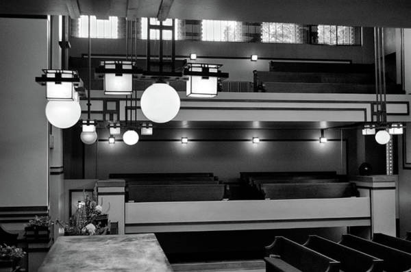 Photograph - Unity Temple Interior Black And White by Jim Shackett