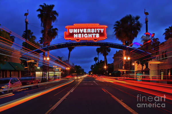 Photograph - University Heights Neon Sign With Traffic Light Trails by Sam Antonio Photography