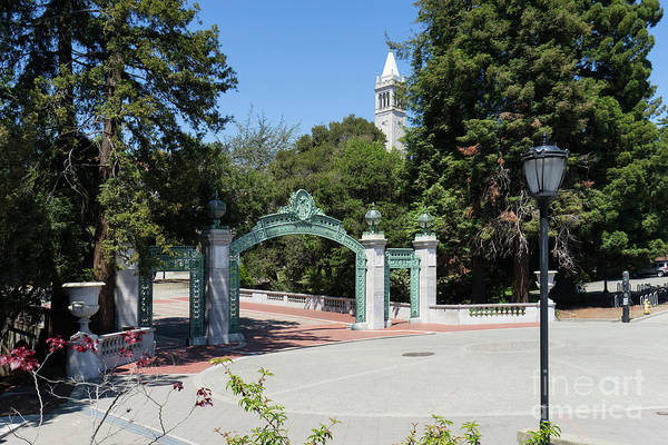 Photograph - University Of California At Berkeley Sproul Plaza Sather Gate And Sather Tower Campanile Dsc6261 by Wingsdomain Art and Photography