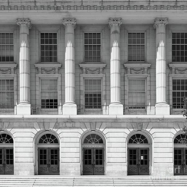 Photograph - University Of California Berkeley Historic Ide Wheeler Hall Dsc4063 Square Bw by Wingsdomain Art and Photography