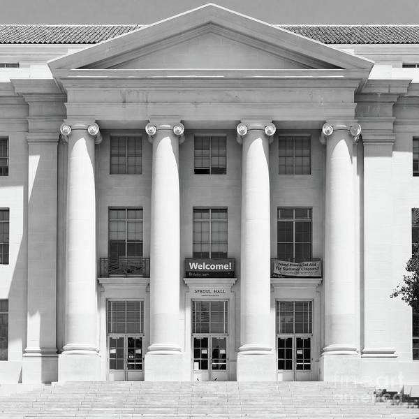 Photograph - University Of California Berkeley Historic Sproul Hall At Sproul Plaza Dsc4081 Square Bw by Wingsdomain Art and Photography