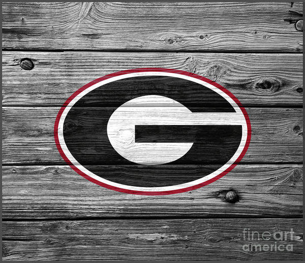 Wall Art - Photograph - University Of Georgia Bulldogs Logo On Weathered Wood by John Stephens