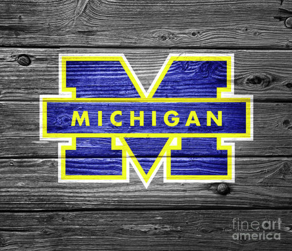 Wall Art - Photograph - University Of Michigan Wolverines Logo On Weathered Wood by John Stephens