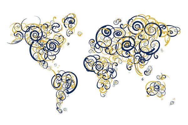 Indiana University Alumni Digital Art - University Of Notre Dame Colors Swirl Map Of The World Atlas by Jurq Studio