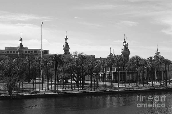 Photograph - University Of Tampa With River - Black And White by Carol Groenen