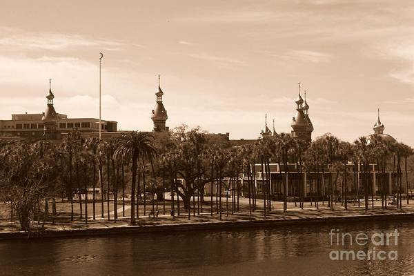 Photograph - University Of Tampa With River - Sepia by Carol Groenen