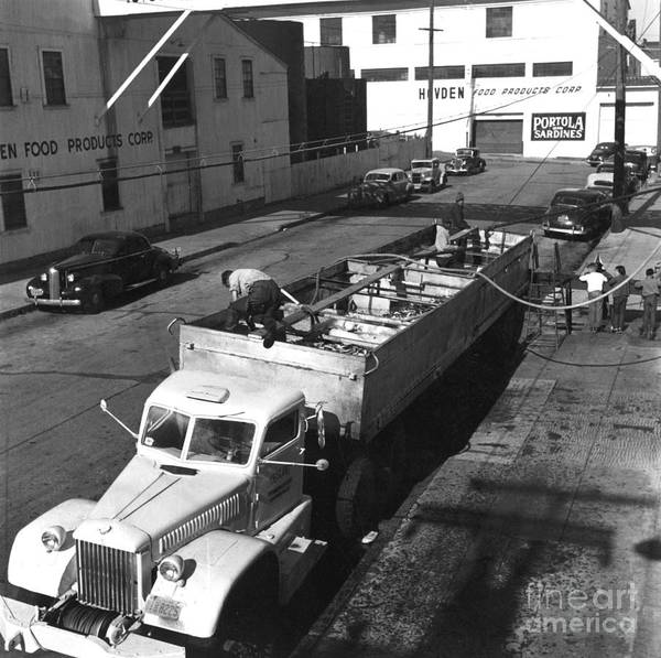 Photograph - unloading sardines trucked in from southern California 1950 by California Views Archives Mr Pat Hathaway Archives