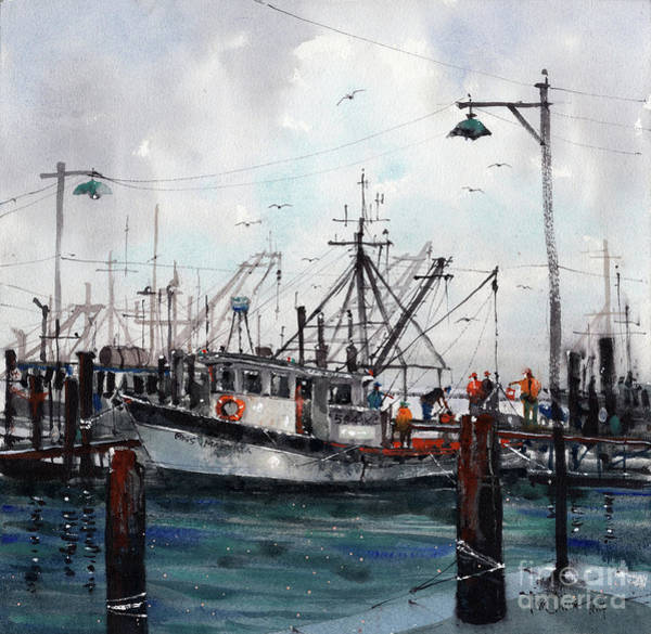 Shrimp Boat Wall Art - Painting - Unloading The Catch by Tim Oliver