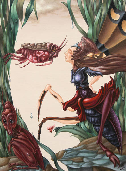 Painting - Unsung Song Of Alice Cooper's Love Of Insects. by Victor Molev