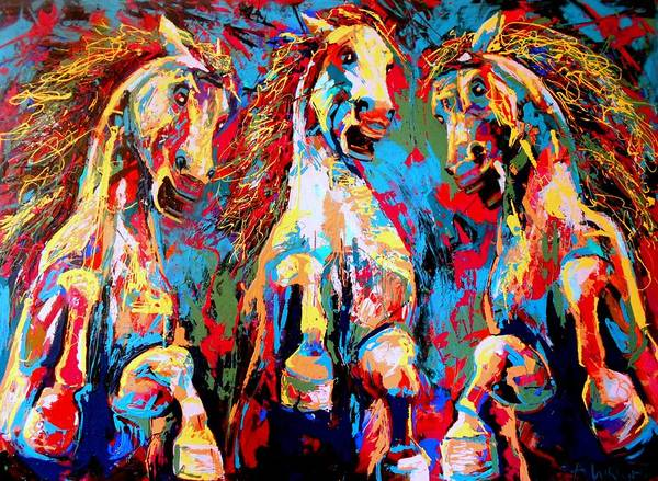 Primal Painting - Untamed- Large Work by Angie Wright