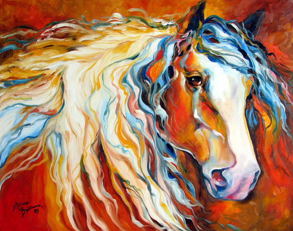 Painting - Untamed Spirit Equine Original By M Baldwin by Marcia Baldwin