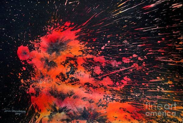 Painting - Floral Vs Fire by Tamal Sen Sharma