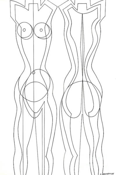 Backdrop Drawing - Untitled Pair Of Nudes  by Manuel Bennett