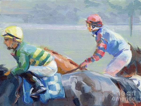 Thoroughbred Racing Wall Art - Painting - Untitled Saratoga by Kimberly Santini