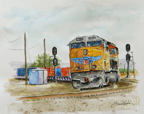 Freight Trains Painting - U.p. 8226 by William Reed